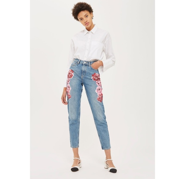 e64615f8364557 Topshop Jeans | Nwt Moto Peony Print High Waist Mom | Poshmark
